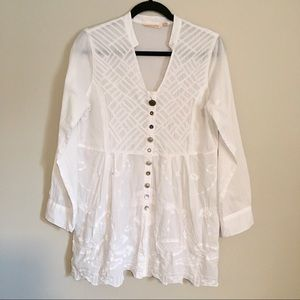 Soft Surroundings White Alka Tunic jewel buttons S